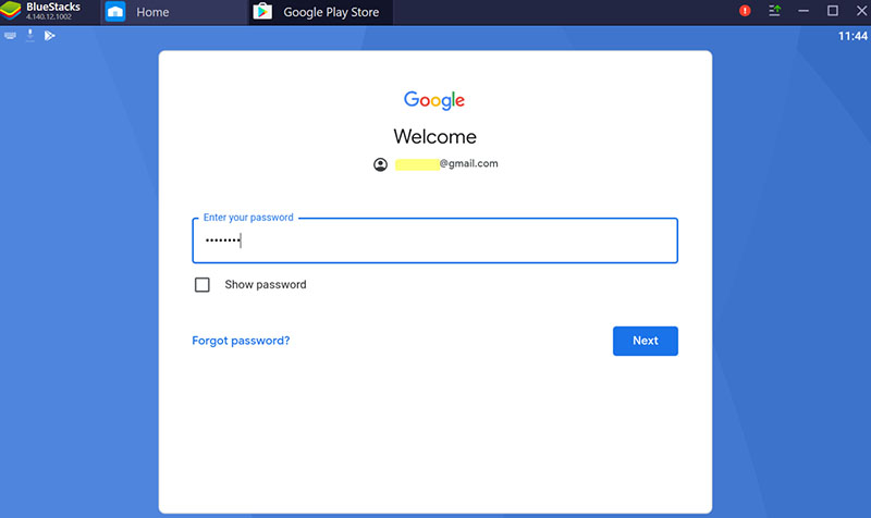 sign in to the bluestacks