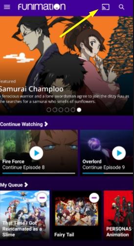 Cast Funimation on Chromecast
