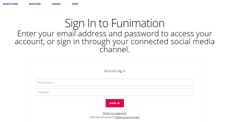 LOG IN to funimation
